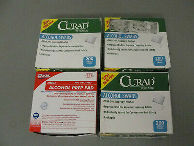 "Curad Alcohol 70% Prep Pad Sterile Wound Cleaning 1"" Swabs Lot 4 Box 200 Each"
