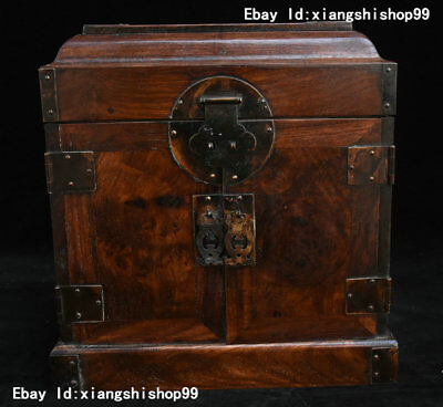 """12"""" China Collection Huanghuali Wood handcrafted Portable Jewelry Box Food Box"""