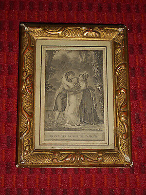 Antique FRENCH ENGRAVING Victorian Era Reptile Snake Gold Red Leaf Gesso Frame