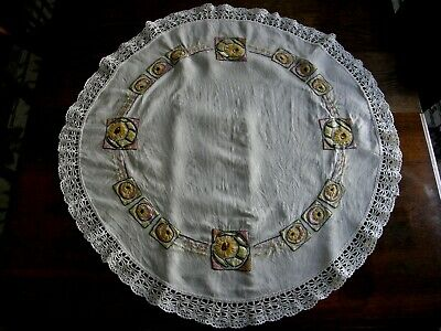 "Vintage Arts & Crafts Era Embroidered Linen Tablecloth 36"" Round Crocheted Edge"