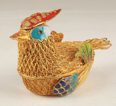 Unique Chinese Cloisonne Handmade Carving Chicken Statue Box Collection