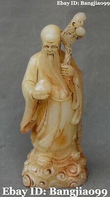 21CM Chinese Old Jade Carving longevity Shouxing God Crutch Peach Fruit Statue
