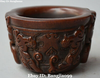 Chinese Ox Horn Pure Hand Engraving Dragon Beast Offering Bowl Bowls Statue