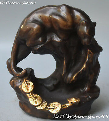 Unique China Wealth Money Coin Leopard Panther Fierce beast Animal  Statue