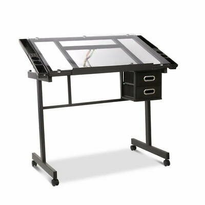 Tilting Drawing Desk Drafting Table Art Craft Student Desk W Tempered Glass Top