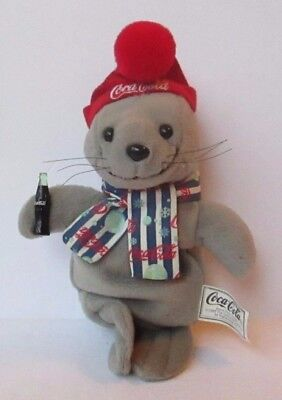 "COCA COLA CHRISTMAS SEAL 8"" PLUSH DOLL, Coke, Holidays"