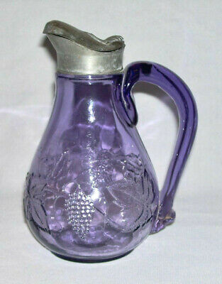 Beautiful Vintage Purple Glass SYRUP PITCHER-JUG w/Pewter Lid & Grapes (18 Oz.)