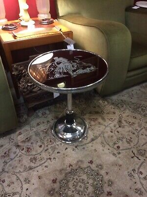 1930's Art Deco Bull Fighters Chrome Side Table