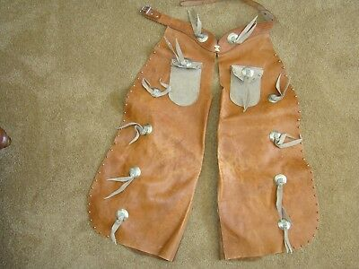 Vintage Cowboy Chaps, child's or youth. Leather with pockets, made in Racine WI