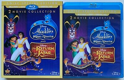 Aladdin & The King Of Thieves & The Return Of Jafar Blu Ray Dvd + Rare Slipcover