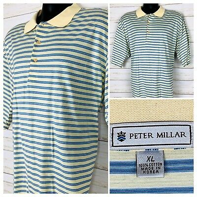 Peter Millar Blue Cream Stripe Golf Polo Shirt Mens Size X-Large XL
