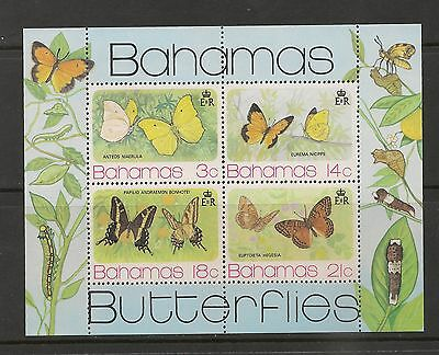 Bahamas #373a (SG #MS443) S/S VF MNH - 1975 3c To 21c Butterflies - SCV $12.00