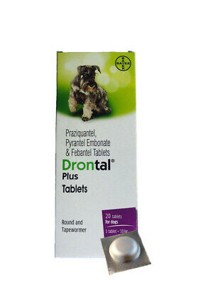 Bayers Drontal Plus Dewormer, Roundworm and Tapewormer For Dog 4-40 Tablets