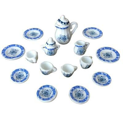 15X Dining Ware Ceramic Blue Flower Set for 1:12 Dollhouse Miniature Accessories