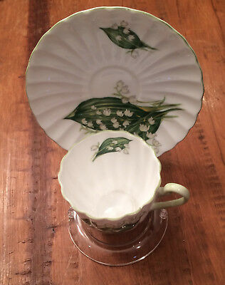 Shelley Fine Bone China Tea Cup & Saucer Lily of The Valley Demitasse RARE ITEM
