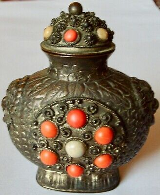 Antique Made In China Gilt Copper Filagree Faux Coral Stones Snuff Bottle