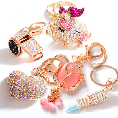 Flower Crystal Rhinestone Keyring Keychain Pendant Bag Purse Car Key Chain Ring