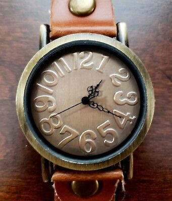Antique Vintage Look Round Bronze Face Brown Leather Strap Quartz Watch