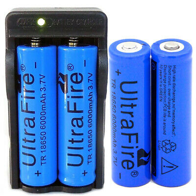 4* Ultrafire 18650 Battery 6000mAh Li-ion 3.7V Rechargeable Batteries + Charger