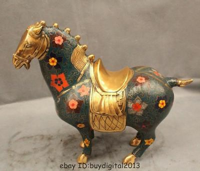 "12"" Chinese Folk Cloisonne Purple Bronze Zodiac Year Tang Horse Success Statue"