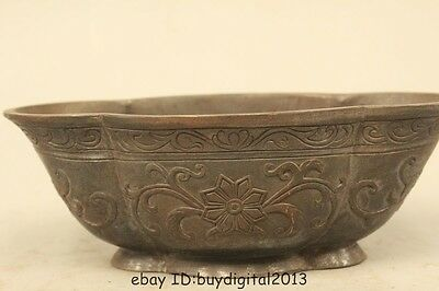 """6""""Old Marked Chinese Dynasty Pure Bronze Wonder flower Bowl-like object Bowl"""