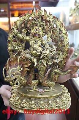 Old Tibet Buddhism Bronze 24K Gold White Jambhala Buddha Ride Dragon Statue