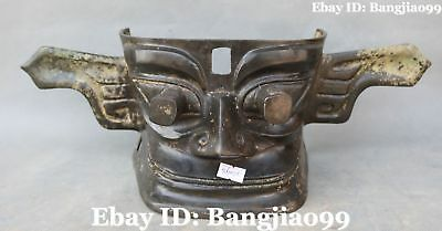 """16"""" Old Collect Chinese Bronze Ancient People Person Man Vizard Mask Statue"""