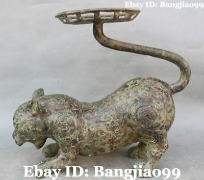 """13"""" Old Bronze Ancient Tiger Tigre Beast Oil lamp Candle Holder Candlestick"""