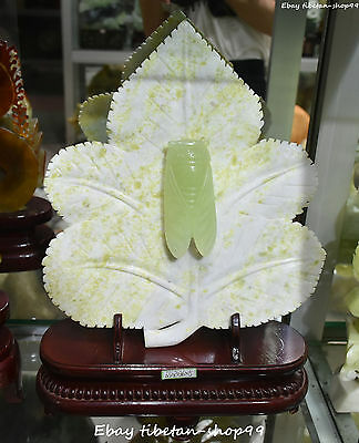 "17"" Chinese 100% Natyural Green Jade Leaf Foliage Leafage Cicada Insect Statue"
