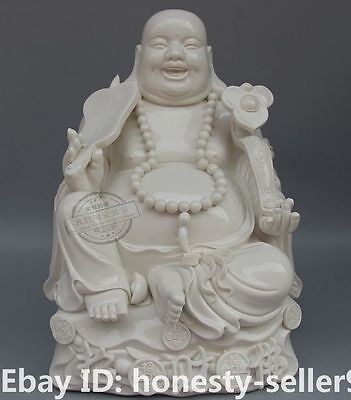 "15"" Chinese Dehua Porcelain Wealth Happy Laugh Maitreya Buddha Hold Ru Yi Statue"