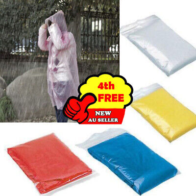 Disposable Adult Emergency Waterproof Rain Coat Poncho Hiking Camping Hooded lot