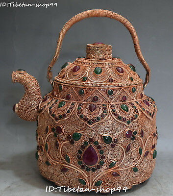 Tibet Silver Gold Filigree Turquoise Coral Gems Wine Pot Kettle Flagon Statue