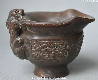 Chinese Ox Horn Ancient Dragon Beast Winecup Cann Tumbler Tumblerful Oxhorn Cup