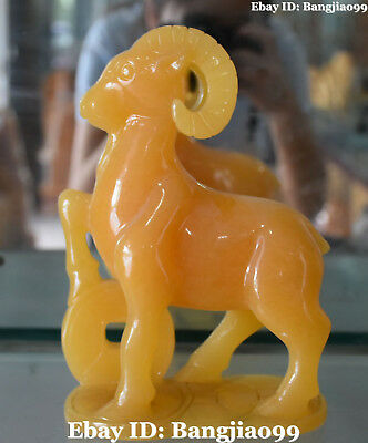 Chinese Natural Yellow Jade Carving Wealth Money Coin Sheep Goat Animal Statue