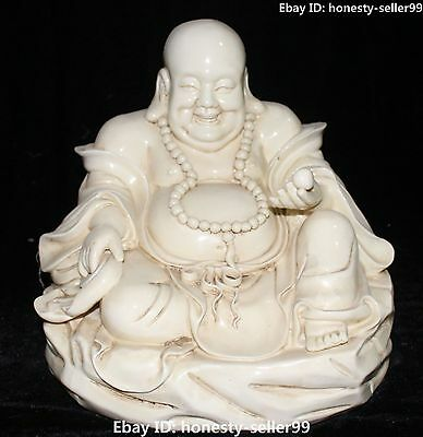 "`12"" Chinese Dehua Porcelain Seat Happy Laugh Maitreya Buddha Hold Beads Statue"
