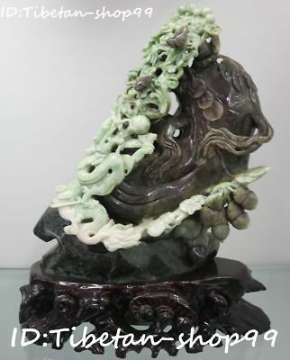 "13"" Top Natural Dushan Jade Ginseng Dragon Bird Flower peanut Coin Ruyi Statue"