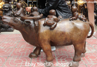 "34"" China Bronze Gilt Fengshui Tongzi Kid Boy People Cattle Oxen Bull Ox Statue"