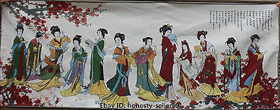 "66"" Chinese Cloth Silk Antiquity Beautiful Woman Beauty Thangka Tangka Mural"