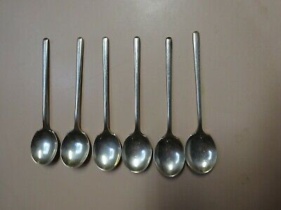Sterling silver set of 6 rounded teaspoons .Hallmarked.