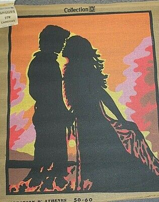 LARGE new Tapestry Canvas  COLLECTION D   'Couple silhouette' 60cm x 47cm