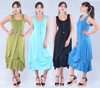 Boho Womens 3/4 Length Dress-A Line Stretch Jersey-Made to Order Z882 Plus Sizes