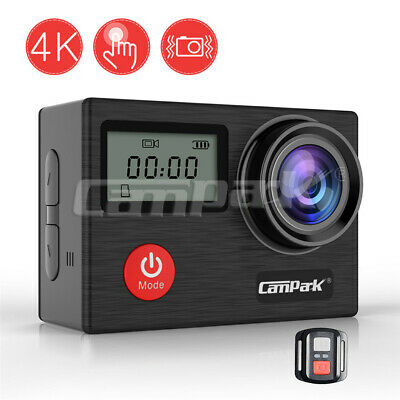Campark 4K Action Cam Touchscreen Sports Kamera WiFi FHD 20MP Fernbedienung 32GB