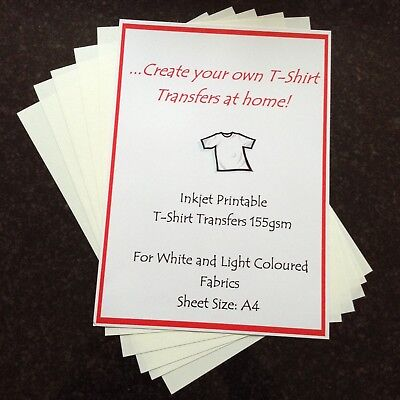 A4 Iron-On T'shirt Transfer Paper Light Fabric Inkjet Printable 10 Sheets