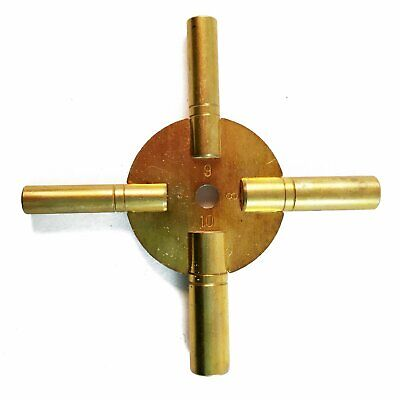 Brass Universial Clock Key for Winding Clocks 4 Prong EVEN Numbers (5190)