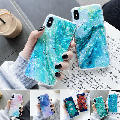 Glitter Foil Shell Pattern Rubber Soft Case Cover For iPhone XS Max XR X 8 6s 7+