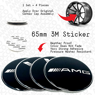 ✔️ 8x 65MM BLACK MERCEDES BENZ AMG CENTER CAP Sticker Badge 3M Emblem Wheel