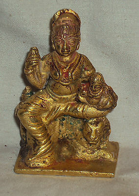 Antique Hindu Traditional Indian Ritual Bronze Statue DURGA ON LION With Consert