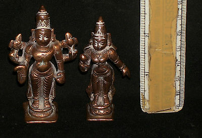 "Antique Hindu Traditional Indian Ritual Bronze God ""Vishnu With Consort"" Rare"