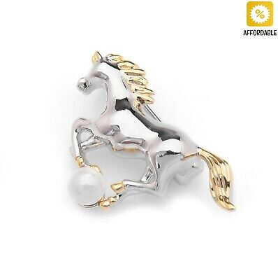 fb1c14a821ee Brooches Men Women Cowgirl Pearl Silver Horse Collar Pin Cute Coat  Accessories