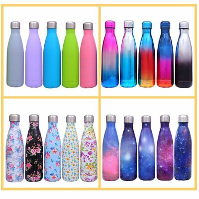 New Water Bottle Flask Stainless Steel Double Wall Vacuum Insulated Drink 500ML